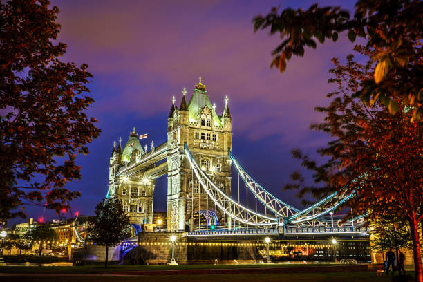 Famous Tower Bridge in the evening with blue sky and reflex on water, London, England Famous Tower Bridge in the evening with blue sky and reflex on water, London, England tower bridge stock pictures, royalty-free photos & images
