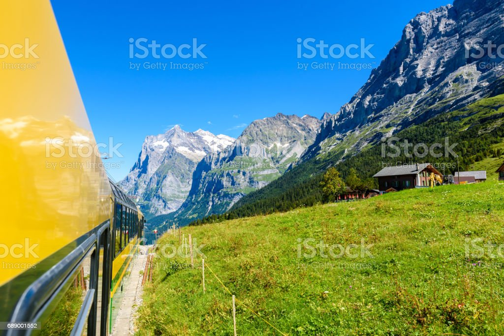 Famous train between Grindelwald and the Jungfraujoch station - railway to top of Europe, Switzerland stock photo
