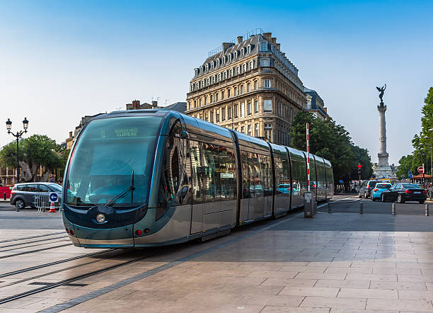 Famous tram on a streets of Bordeaux, France stock photo