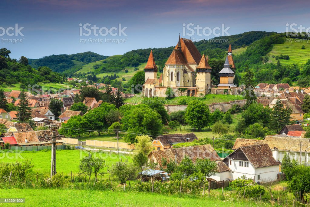 Famous Transylvanian touristic village with saxon fortified church, Biertan, Romania stock photo