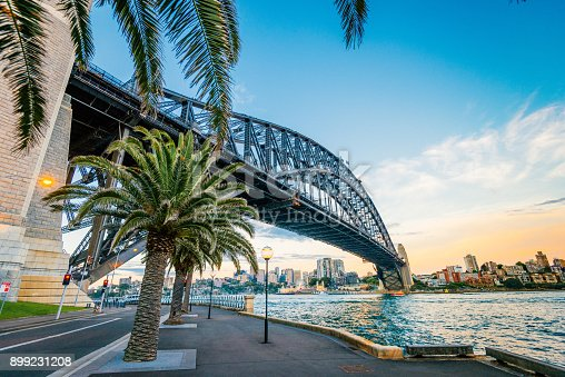 Cityscape of Sydney, Australia, in early summer at dusk and night. Majestic Sydney Harbor bridge, Circular Quay and the Rocks are famous areas and landmarks in Sydney.