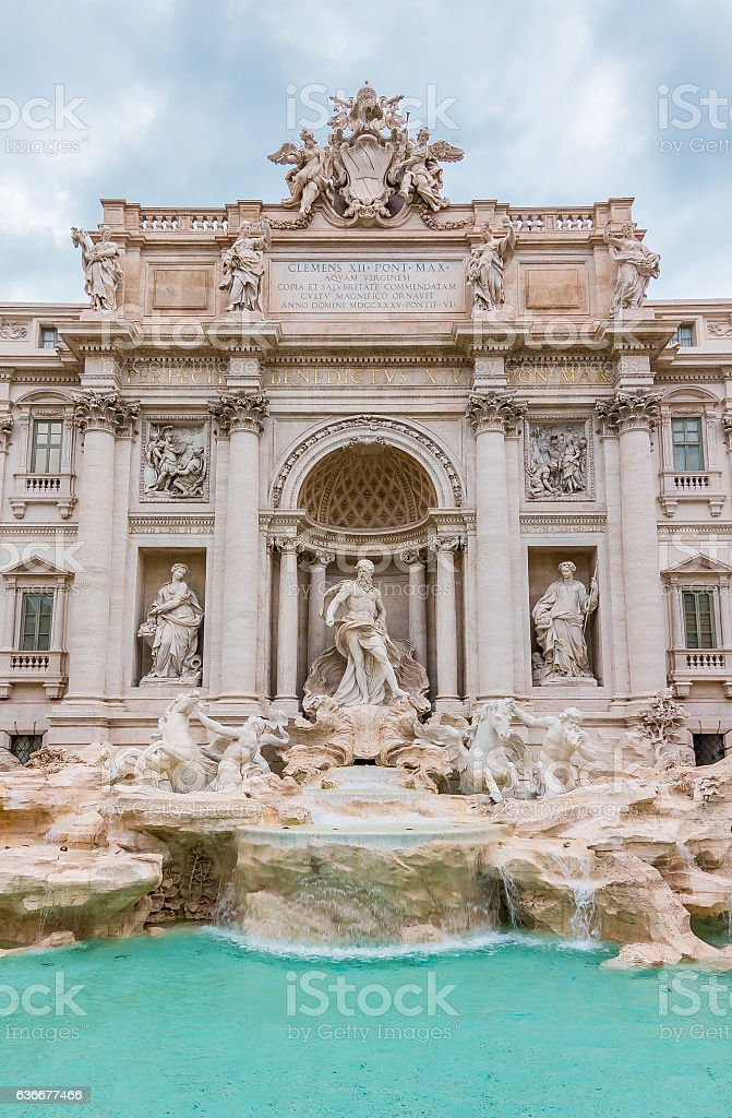 Famous Trevi Fountain in Rome Italy stock photo