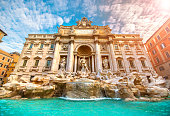 Famous iconic Trevi Fountain at Piazza Di Trevi.