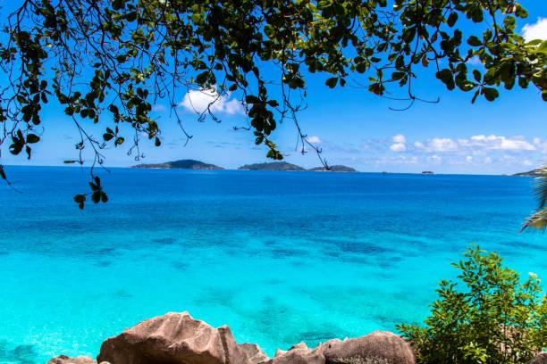 Famous tropical beach Anse Source d'Argent with granite boulders, Union Estate Park, La Digue Island, Seychelle stock photo