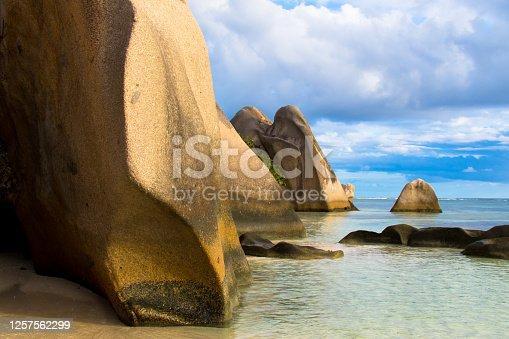 Famous tropical beach Anse Source d'Argent with granite boulders, Union Estate Park, La Digue Island, Seychelles