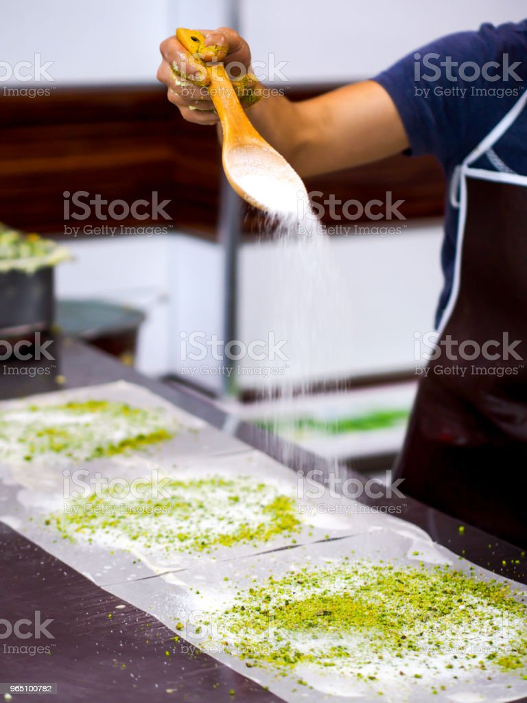 famous turkey gaziantep dessert preparation (katmer) royalty-free stock photo