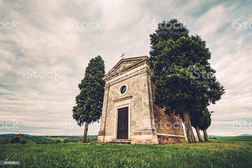Famous Tuscan Chapel Cappella Di Vitaleta stock photo