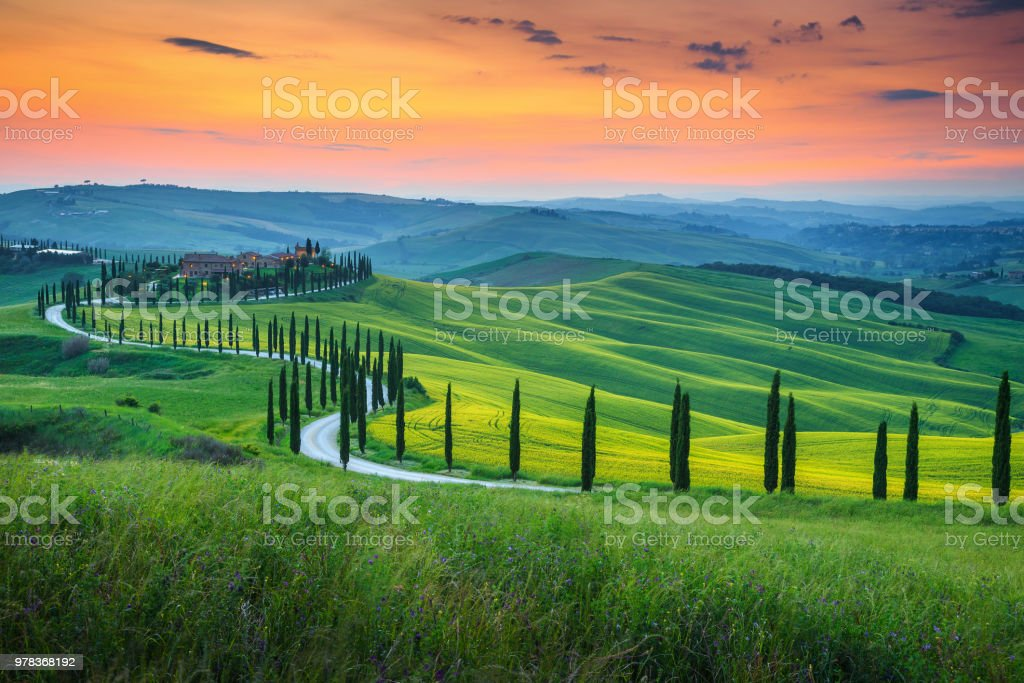 Famous Tuscany landscape with curved road and cypress, Italy, Europe stock photo