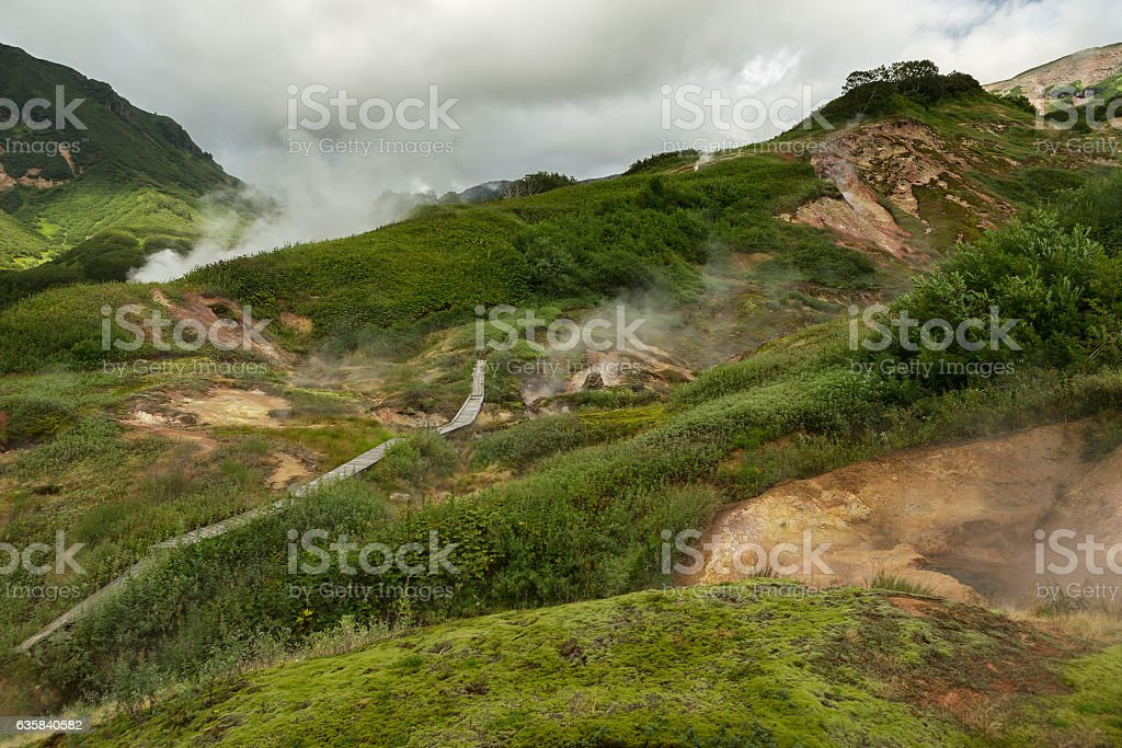 Famous Valley of Geysers. stock photo