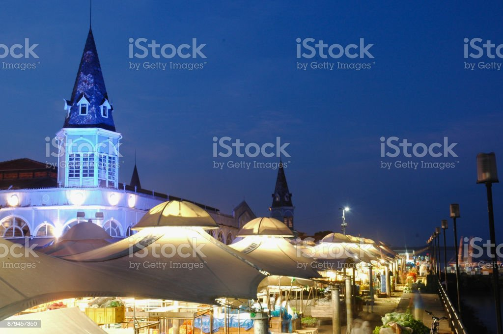 Famous Ver o Peso Market with night blue light stock photo