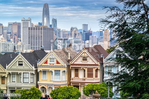 Photo of the famous victorian style houses in San Francisco, also know as painted ladies.