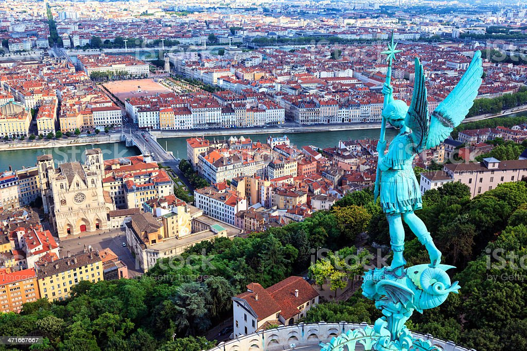 Famous view of Lyon stock photo