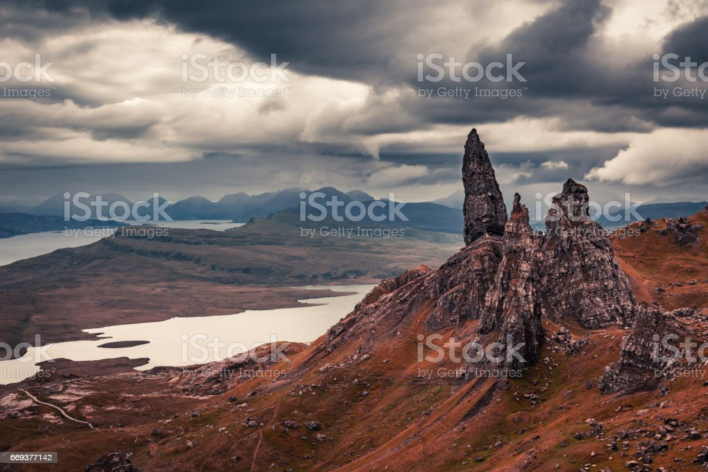 Famous view to Old Man of Storr, Skye stock photo