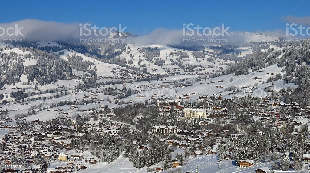 Famous village and holiday resort Gstaad stock photo