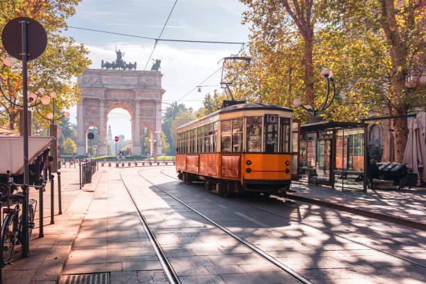 famous vintage tram in milan, lombardia, italy - linea tranviaria foto e immagini stock