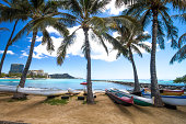 Famous Waikiki Beach with turquoise ocean and Diamond Head Crater in the background, Honolulu, Hawaii