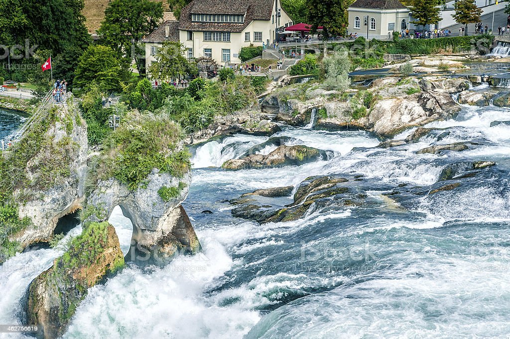 Famous Waterfall in Swiss stock photo