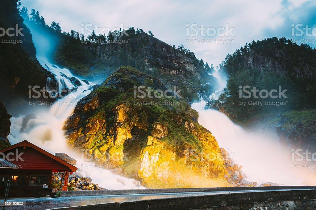 Famous Waterfall Latefoss Or Latefossen Waterfall In Norway. Amazing stock photo