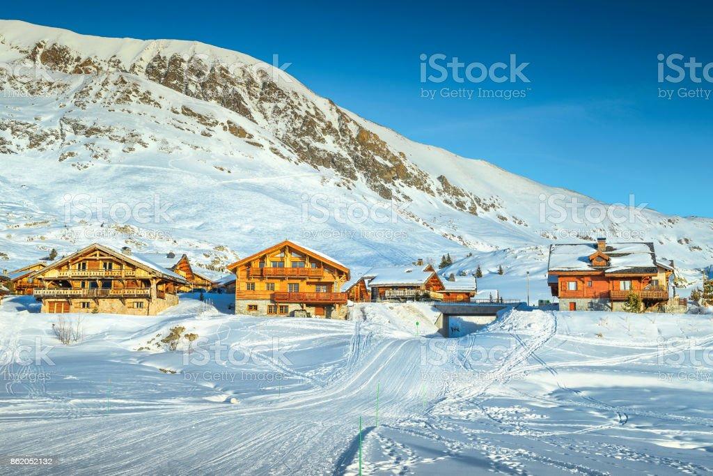 Beroemde winter ski resort in de Franse Alpen, Europa foto