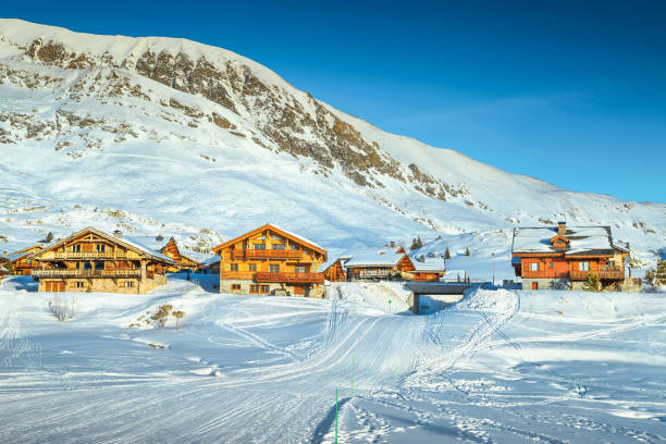 Beroemde winter ski resort in de Franse Alpen, Europa​​​ foto