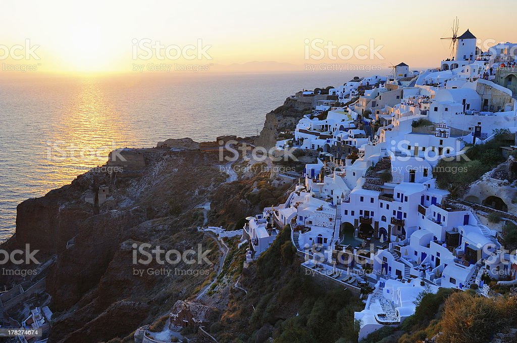 Famous wonderful sunset in Oia royalty-free stock photo