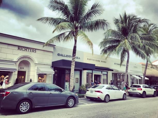 Famous Worth Avenue, shopping street, Palm Beach, USA stock photo
