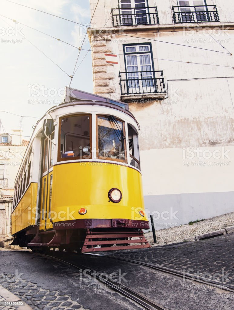 Famous yellow tram in the Lisbon, Portugal stock photo
