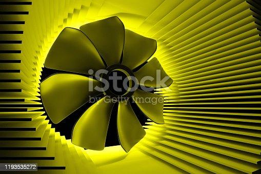 istock A fan among the radiator plates. 1193535272