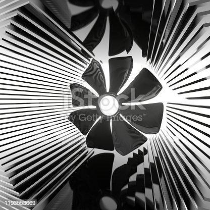 istock A fan among the radiator plates. 1193553669