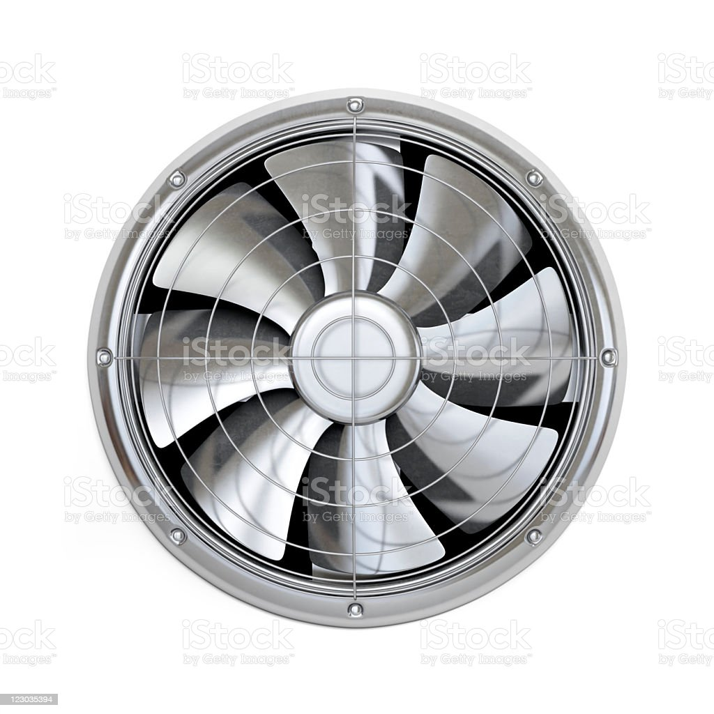 Fan blades in cooler against white background royalty-free stock photo