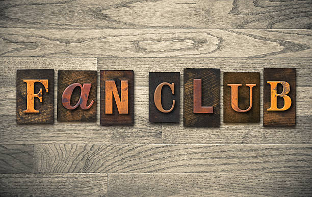 "Fan Club Wooden Letterpress Concept The words ""Fan Club"" written in vintage wooden letterpress type. fan club stock pictures, royalty-free photos & images"