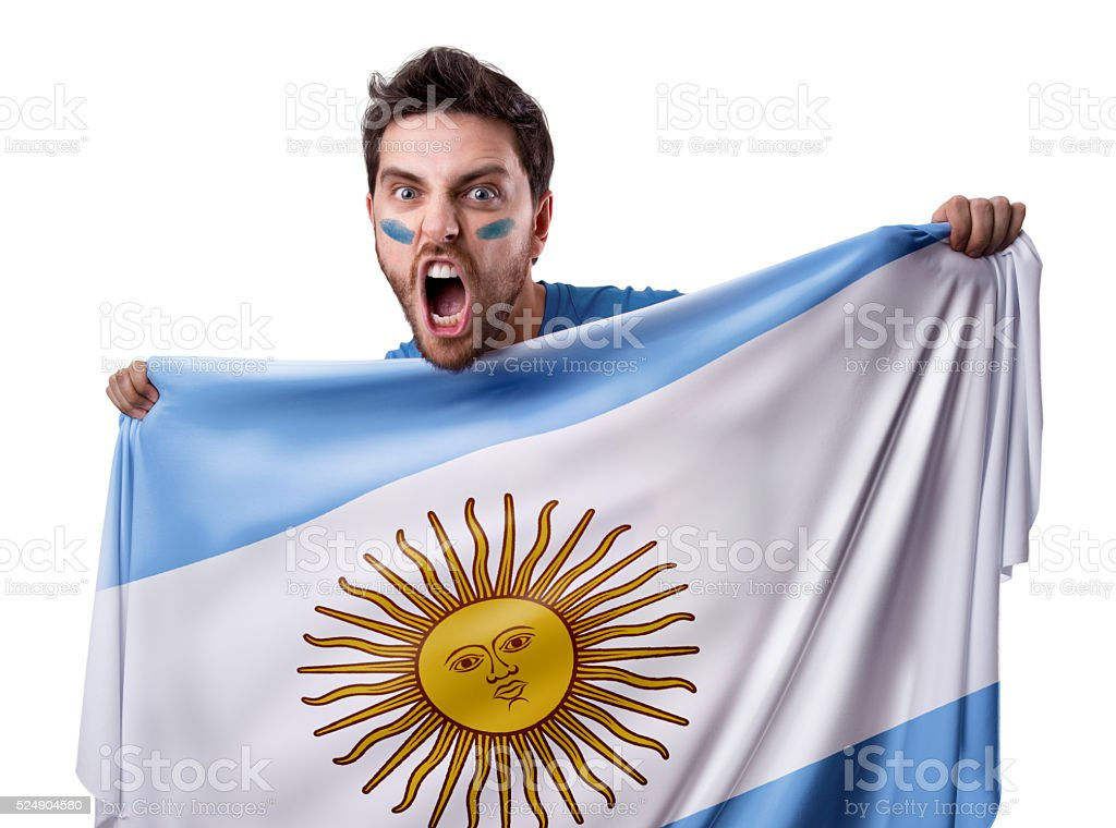 Fan holding the flag of Argentina stock photo