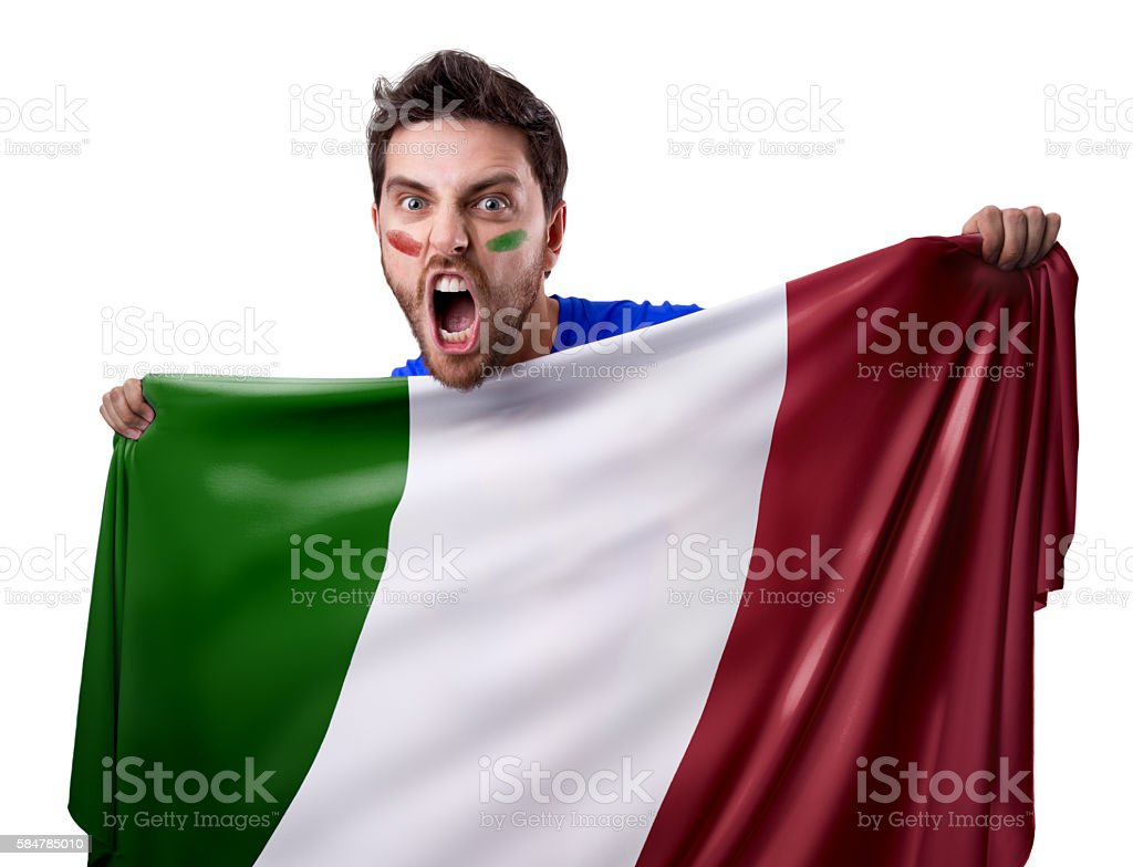 Fan holding the flag of Italy - foto de stock
