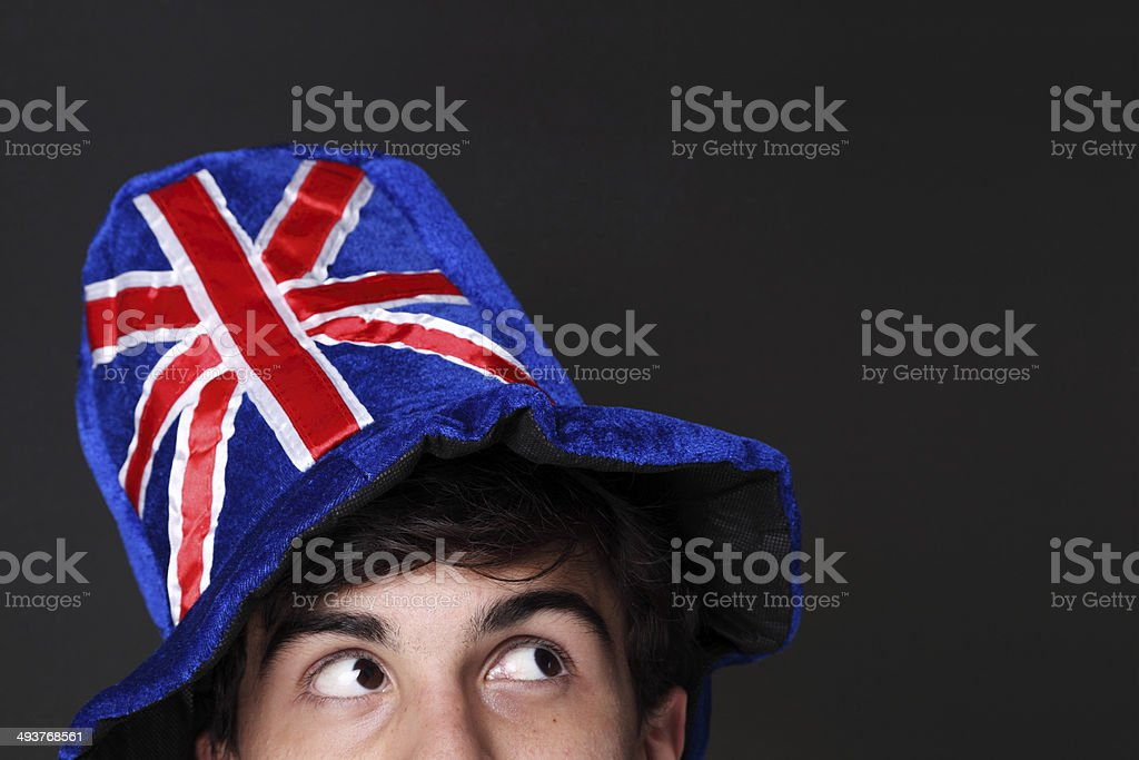 UK fan looking to the side stock photo