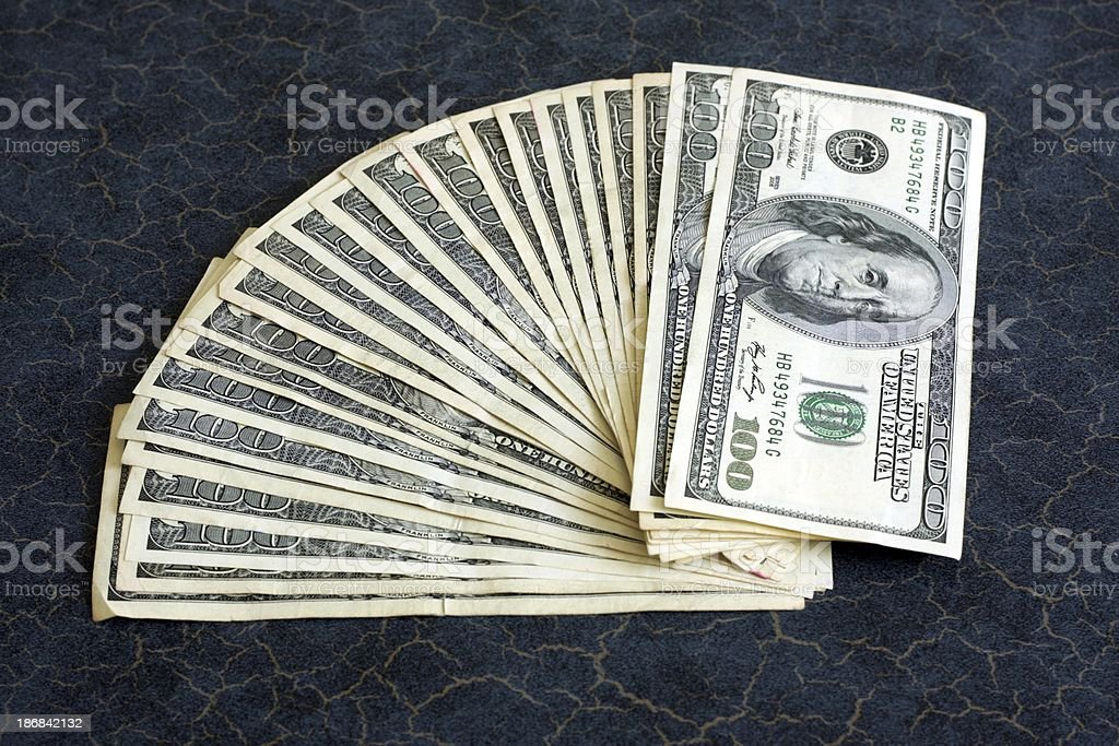 Fan of 100 Dollar Bills stock photo