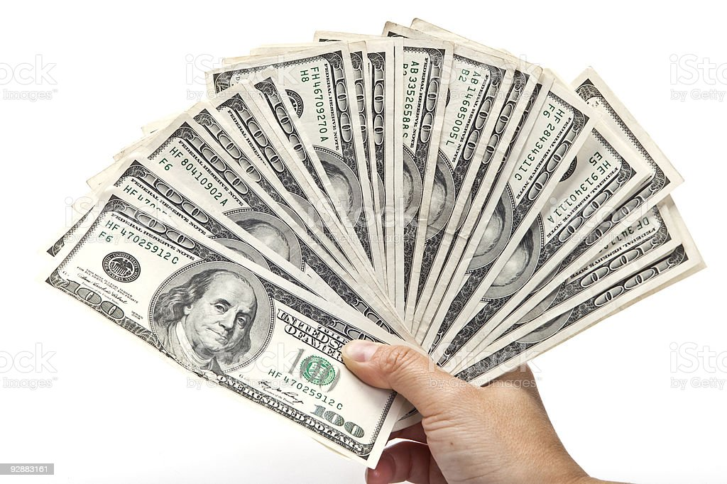 Fan of Hundred Dollar Bills stock photo