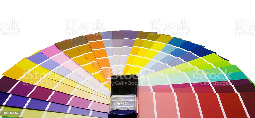 Fan of paint colour swatches and brush royalty-free stock photo
