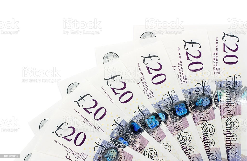A fan of six Σ20 notes on a white background stock photo