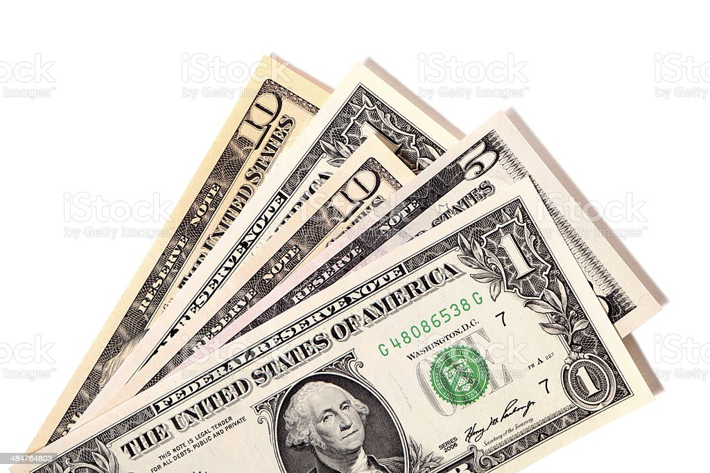 Fan of various US dollar bills stock photo