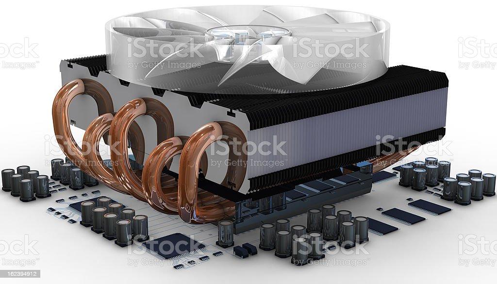 CPU fan on radiator stock photo