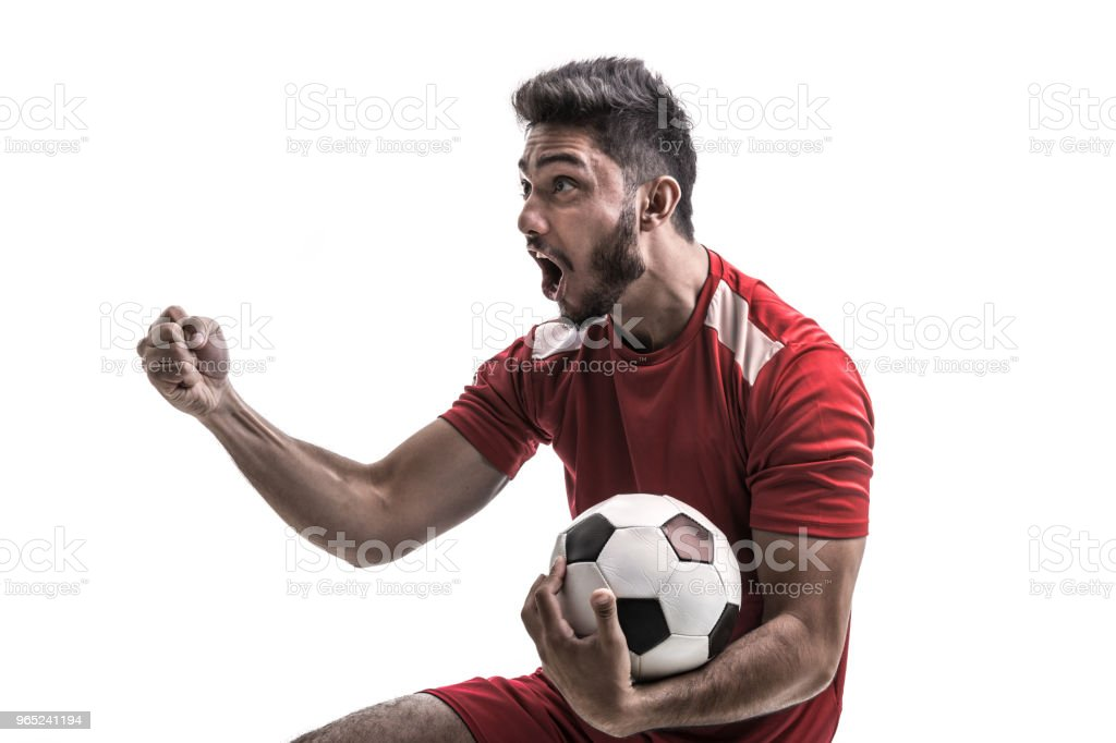 Fan / Sport Latino Player on red uniform zbiór zdjęć royalty-free