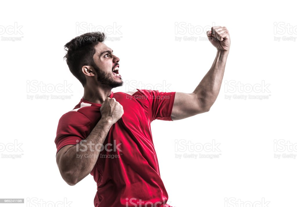 Fan / Sport Latino Player on red uniform royalty-free stock photo