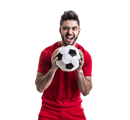 Fan Sport Latino Player On Red Uniform Stock Photo - Download Image Now