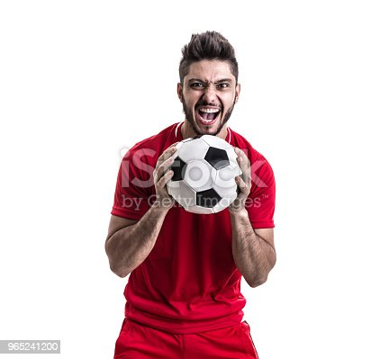Fan Sport Latino Player On Red Uniform Stock Photo & More Pictures of 2018