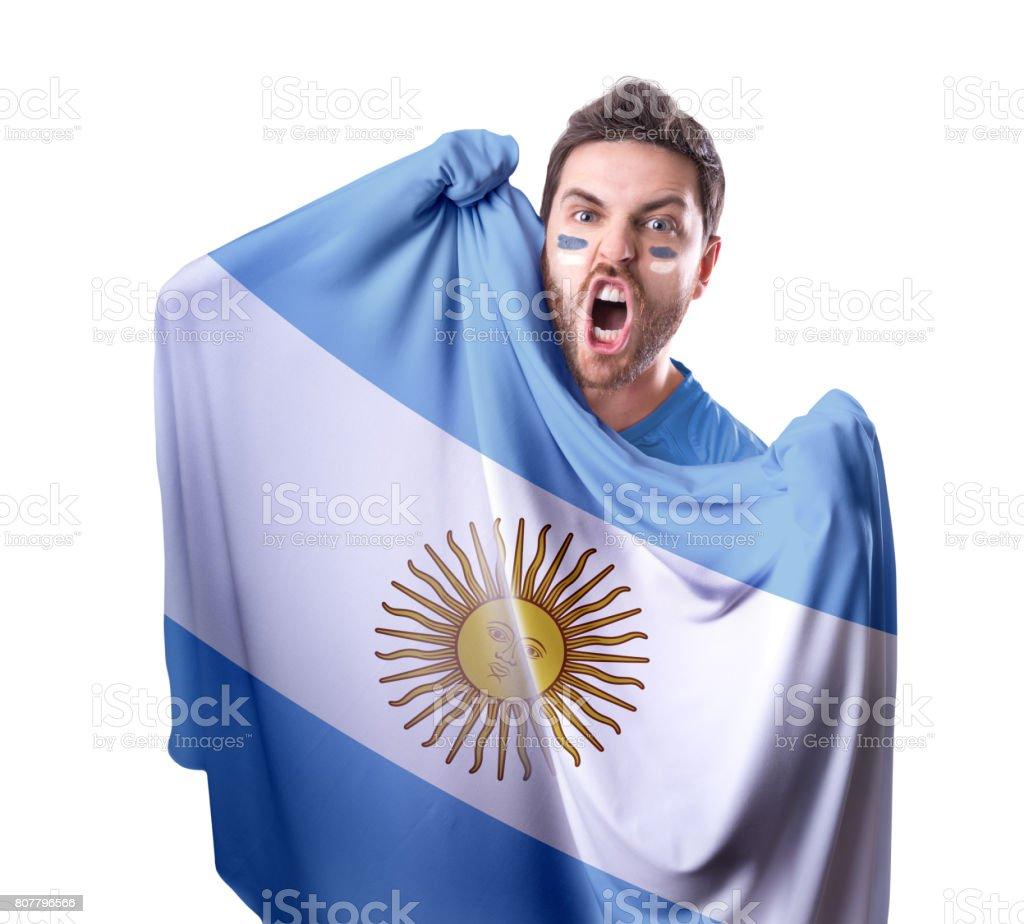 Ventilador / jugador del deporte sosteniendo la bandera Argentina - foto de stock