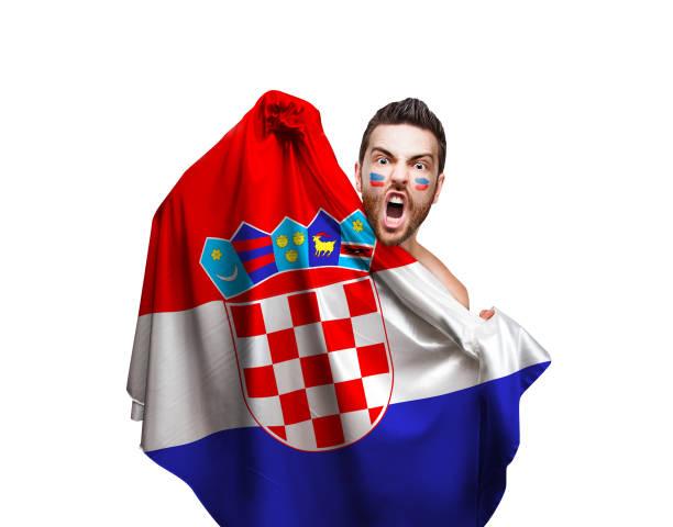 Ventilador / jugador del deporte bandera de Croacia - foto de stock