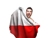 Fan / Sport Player holding the flag of Poland