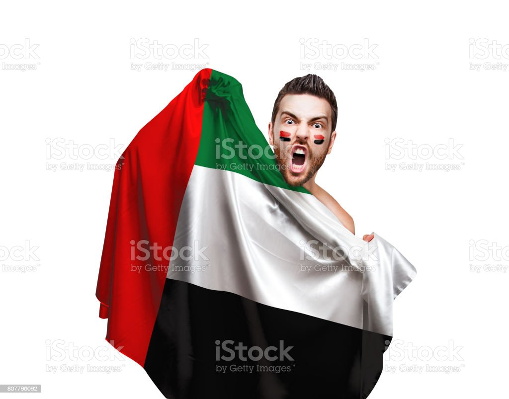Fan / Sport Player holding the flag of UAE stock photo