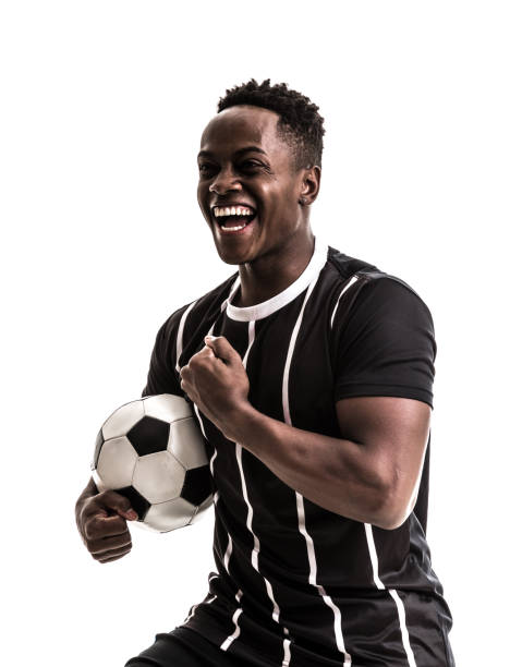 Fan / Sport Player on black and white uniform celebrating on white background stock photo