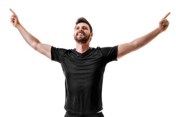 Fan / Sport Player on black uniform celebrating on white background Sport Collection american football league stock pictures, royalty-free photos & images